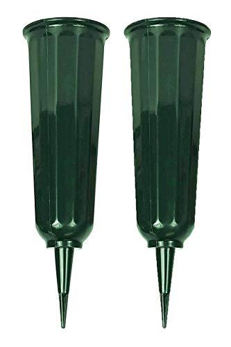 Black Duck Brand Green 9.75' Plastic Cemetery Memorial Grave Flute Flower Vases; 2 Pack