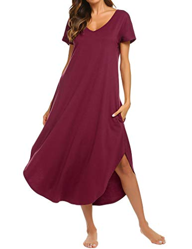 Ekouaer Nightgowns Damen V-Ausschnitt Loungewear Kurzarm Nachtwäsche Übergröße S-XXL - Rot - XX-Large