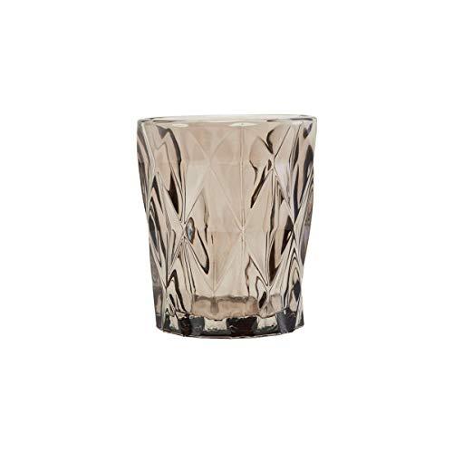 Teelichthalter, Facet, Braun, h: 9,8 cm, Dm: 8,25 cm