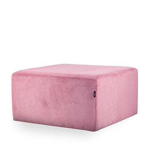 MiPuf - Puff Cube Pana - 75x75 cm - Alta Resistencia - Rosa Palo