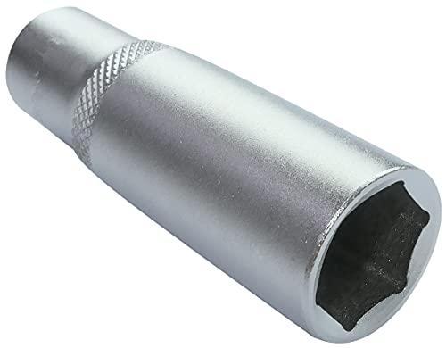 AERZETIX - Llave de vaso - Profundo/extendido/largo - 3/8x15mm - para atornillar/trinquete manual/neumático - Cuerpo cilíndrico - Hexagonal/6 lados Allen - en acero CR-V - Color plata - C51125