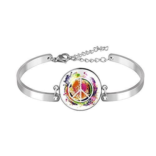 Pulsera, brazalete de acero inoxidable brazalete de regalo de joyería puño pulido estilo de caja de regalo de moda Hippie-Peace-Symbol-Love-Colorful Mano para hombres mujeres
