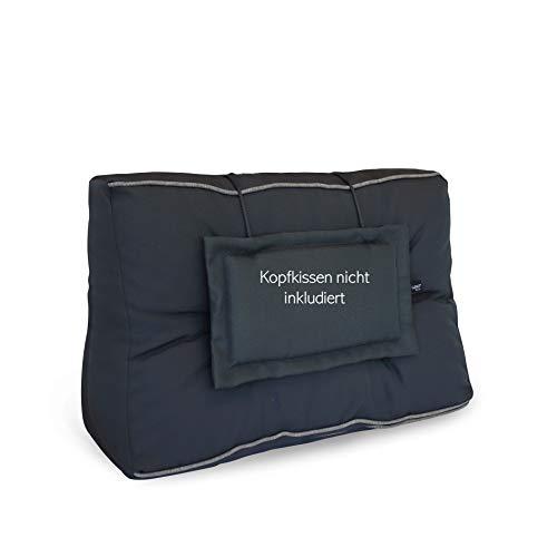 LILENO HOME Palettenkissen Set Anthrazit/Grau - Rücken- / Seitenkissen 60x40x10/20 cm - Polster für Europaletten - Palettenkissen Outdoor als Sitzkissen für Palettenmöbel