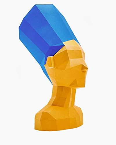 Kit DIY Nefertiti Trofeo de Pared cartón 3D Escultura Origami 3D Puzzle 3D PRECORTADO (Busto Dorado, Corona Azul)
