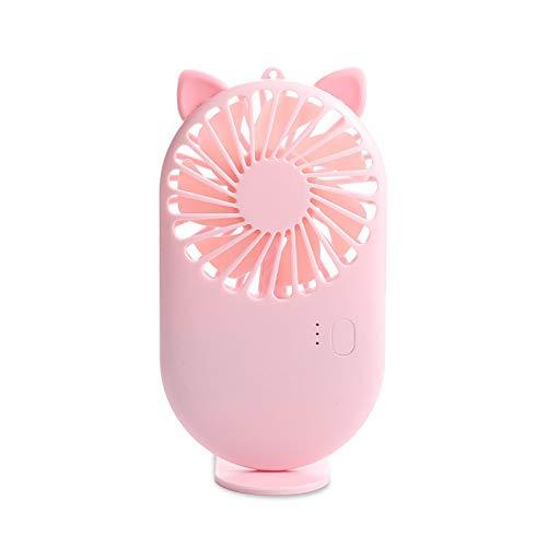 LINMAN USB Mini Fans Portable Air Enfriador de Aire eléctrico Recargable Lindo Pequeño Fans de enfriamiento Estudiante Inicio Viaje al Aire Libre (Color : Cat Pink)