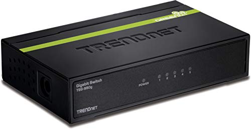TRENDnet 5-Port Unmanaged Gigabit GREENnet Desktop Metal Switch, TEG-S50g, Ethernet Splitter, Ethernet/Network Switch, 5 x Gigabit Ports, Fanless, 10 Gbps Switching Fabric, Lifetime Protection,Black