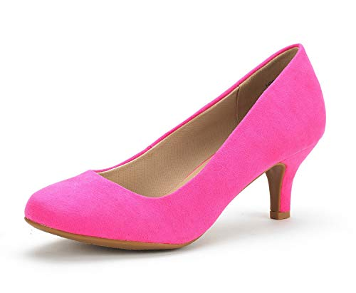 DREAM PAIRS Women's Luvly Fuchsia Suede Bridal Wedding Low Heel Pump Shoes - 5.5 M US