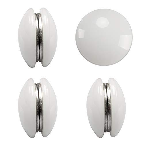 Magnetische Vorhanggewichte, 4 Sets – verwendet als Duschvorhang-Gewichte, Vorhang-Gewichte, Tischdecke, Flaggen oder durchsichtige Stoff-Gewichte, robuste Arbeits-Outdoor-Vorhänge – weiß, rund