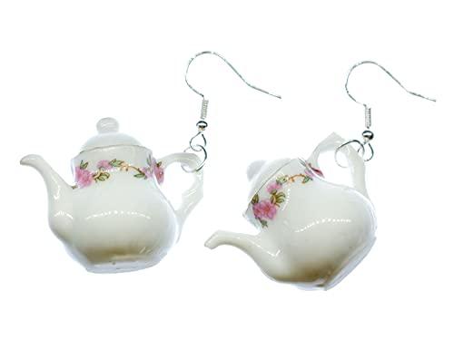 Miniblings Kanne Ohrringe Hänger Teekanne Kaffee Tee Porzellan Service Rundlich - Handmade Modeschmuck I Ohrhänger Ohrschmuck versilbert