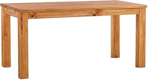 B.R.A.S.I.L.-Möbel Brasilmöbel Esstisch Rio Classico 180x80 cm Honig Massivholz Pinie Holz Esszimmertisch Echtholz Größe und Farbe wählbar ausziehbar vorgerichtet für Ansteckplatten