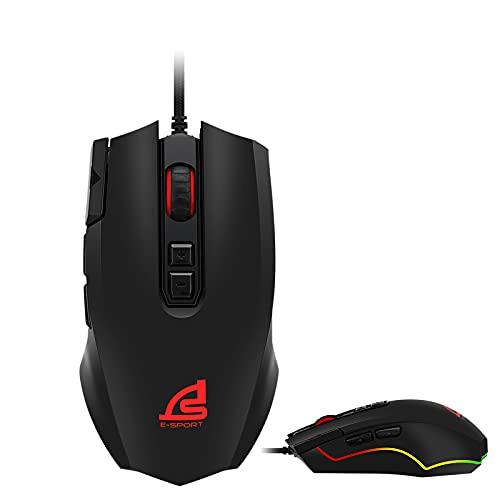 SIGNO Gaming Mouse Wired Ergonomic Sweat-Resistant Backward/Forward Function 500-4000 DPI Adjustable / USB 2.0 / RGB 11 Backlit Mode LED / 8 Macro Keys / PC and MAC(GM-970)