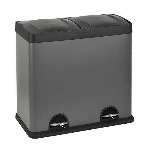 SVITA T2X24 Mülleimer 48 Liter Grau 2 x 24L Treteimer Abfalleimer Mülltrennung mit Schubfächern