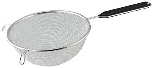 Fackelmann Sieb Ø 20 cm, Küchensieb aus Edelstahl, feinmaschiger Seiher mit Griffeinlage aus Kunststoff (Farbe: Schwarz/Silber), Menge: 1 Stück
