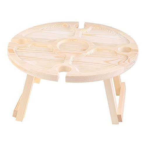 Folewr Mesa de picnic plegable al aire libre de madera, soporte de vino al aire libre de madera Mesa de picnic portátil al aire libre Mesa de picnic portátil mini mesa de playa