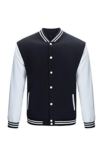 TRIFUNESS Varsity Jacket Letterman Jacket Baseball Jacket with Long Sleeve Banded Collar Size L Black