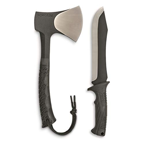 Schrade SCHCOM6CP Full Tang Hatchet and Mini Machete Combo with Stainless Steel Blades and TPR Handles for Outdoor Survival, Camping and Bushcraft
