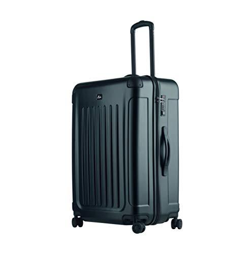 JSA reistrolley L, rolkoffer van ABS-kunststof, reiskoffer met 4 dubbele 360° lichtlopende wielen koffer, 70 cm, 90 L, zwart mat