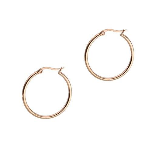 Beydodo 1 Par Pendientes Acero Inoxidable Pendientes Aro Pendientes Mujer Pendientes Hombre Pendientes Oro Rosa 25MM Ear Piercing