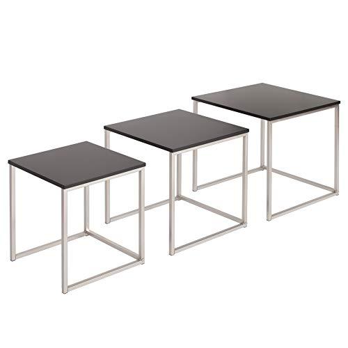 Invicta Interior Design Beistelltisch 3er Set Elements matt schwarz Edelstahl gebürstet Couchtisch Satztische Tischset