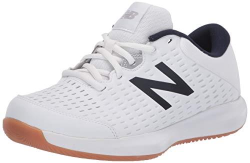 New Balance Men's 696 V4 Hard Court Tennis Shoe, White/Navy, 11 X-Wide