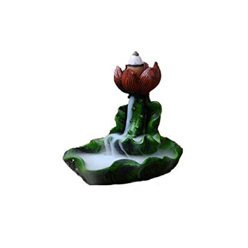 SCDZS Quemador de incienso de cerámica – Meditación auspicioso Lotus Back Flow Cone y Stick quemador de incienso titular