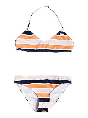 Roxy Made For Conjunto De Bikini Bralette para Chicas 8-16, Niñas, Cadmium Orange Pong Stripes s, 14