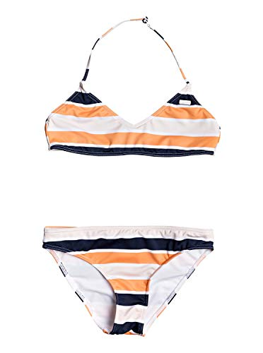 Roxy Mädchen Made for Bralette-Bikini-Set 8-16 Two Piece, Cadmium orange Pong Stripes s, 14