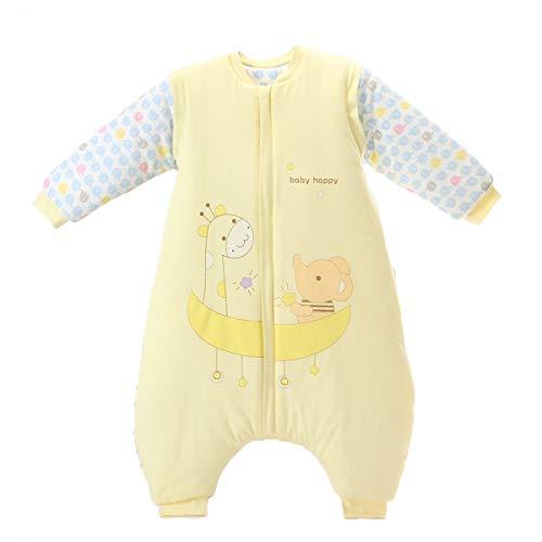 Bebé Saco de Dormir Invierno para Niños Niñas Manga larga Algodón Pijama Mamelucos Mono Traje de dormir 4-5 años,amarillo