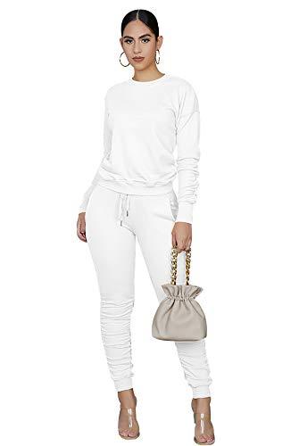 Conjunto Chandal Mujer Crop Top Chándal Mujer Completo Conjuntos Deporte Dos Piezas Mujer Chandals Entero Señora Tallas Grandes Set Chándals Mujeres 2 Piezas Chandales Sudadera Pantalones Blanco M