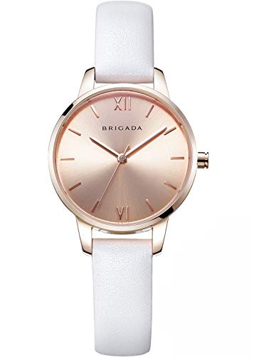 Nice Fashion Elegant Rose Gold Black Ladies Watches, Swiss Brand Leather Band Japanese Movement Waterproof Dress Watch for Women on Sale (1- Classic White)
