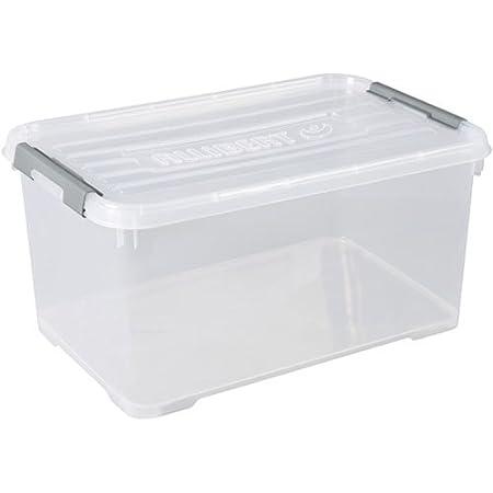CURVER   handy box - Plus 50L + clips Gris Avec Couvercle, Transparent, handy +, 60x40x29 cm