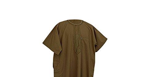 Desert Dress - Boubou Marocain Arabe Homme DishDash Jubba Habit de Prière - Marron, 62