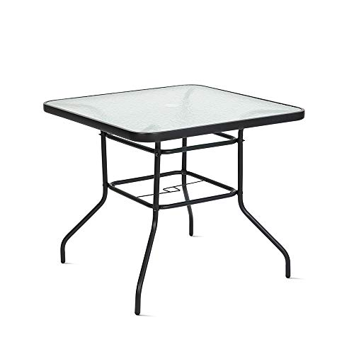 Handman Patio Table with Umbrella Hole Tempered Glass Outdoor Dinning Table 32' x 32' Square Table for Backyard, Garden, Lawn