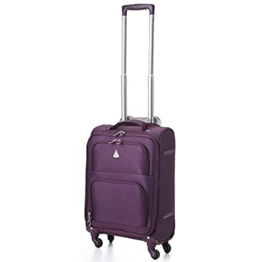 Aerolite 22x14x9  Carry On MAX Lightweight Upright Travel Trolley Bags Luggage Suitcase, 4 Wheel Spinner, Maximum Allowance (Purple)