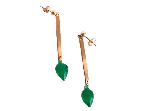 Onyx Ohrringe Ohrstecker SHARONA Grüner Onyx Tropfen Ohrringe vergoldet