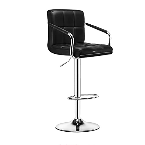 LZL Bar Stools Northern Europe PU Leather Adjustable Swivel Barstools, Armless Hydraulic Kitchen Counter Bar Stool Synthetic Leather (Color : Black)