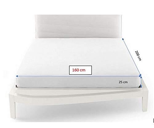 Spannbettlaken Spannbetttuch für Doppelbett, 100 % Baumwolle, Weiß, 160 x 200 x 25 cm