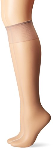 Hanes Silk Reflections Women s 2-Pack Knee High Sandalfoot, Soft Taupe, One Size