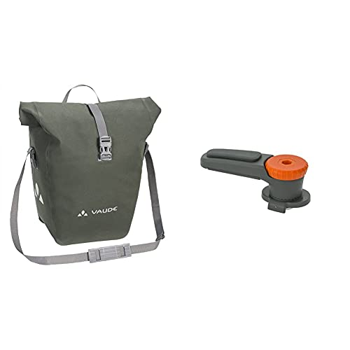 VAUDE Radtaschen Aqua Back Deluxe, Phantom Black, one Size, 128066780 & Haifischzahn, QMR Rail Hook 2.0, QMR-Befestigungssystem 2.0, Radtaschen, Gepäckträgerhalterung weiß Einheitsgröße
