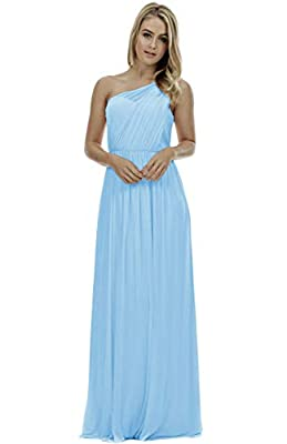 One Shoulder Bridesmaid Dresses Long Aline Chiffon Prom Evening Gown for Women
