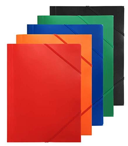 Sammelmappe A4 Kunststoff - 10er Set - Wasserabweisend - Farbig Sortiert - Sichere Aufbewahrung