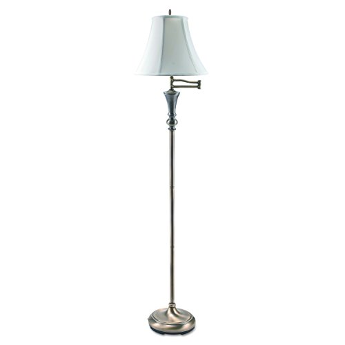 LEDU Antique Floor Lamp with Swing Arm Bell Shade, 60-Inch, Brass (L9004)