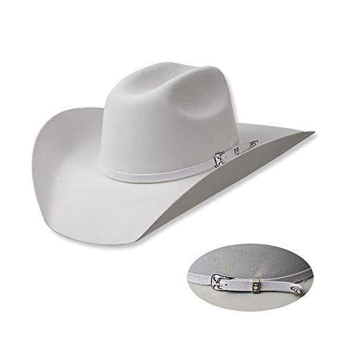 AMAIRS western-rijderhoed, klassieke Western-wolvilt-cowboyhoed zilveren decoratie hooghuis-cowboyhoed met gerolde randen wit