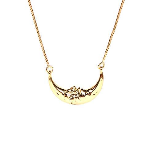 SCGWY Collar de Luna con Incrustaciones de Diamantes