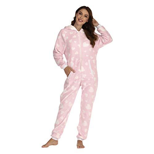 YuanDiann Mujer Pijamas Enteros Onesie, Linda Impresión Corazón del Amor Franela Suave Cálido Dormir Mono con Capucha Cómodo Una Pieza Pijama Completas Rosa M
