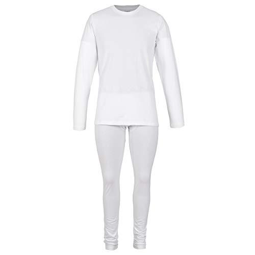 Alfani - Conjunto Termico Playera Manga Larga y Pantalon para Dama, 100% Algodon Termico Blanco Mediano