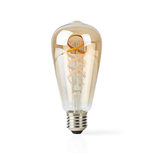 Nedis - Bombilla LED Wi-Fi de Filamento de Blanco Cálido a Frío - Trenzada - E27 - ST64-5,5 W - 350 LM