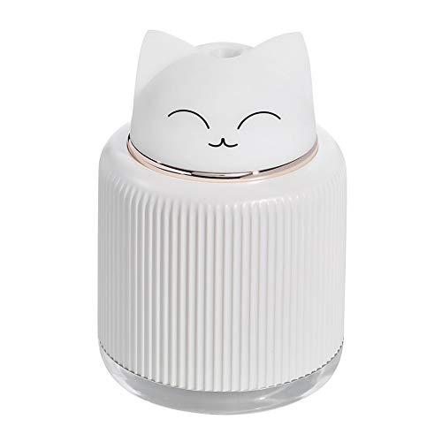 Lai-LYQ Aroma Diffuser, 300ml Mini Luftbefeuchter Süße Katzen Ätherisches Öl Diffusor Ultraschall Vernebler Raumbefeuchter mit LED für Zuhause, Büro, Auto, Yoga, Spa White