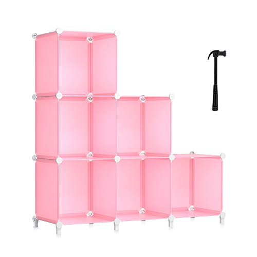 HOMIDEC 6-Cube Storage Shelf, Storage Bookcase Bookshelf with Metal Hammer, Storage Cubes Organizer Cabinet for Kids, Closet, Bedroom, Bathroom, (11.8x11.8x11.8 inch), Light Pink