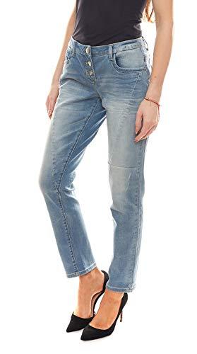 Aniston Denim-Hose schicke Damen Jeans mit sichtbaren Button-Fly Kurzgrößen Freizeit-Hose Five-Pocket-Jeans Blau, Größe:34 (17 Kurzgröße)